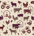 seamless pattern farm animals buildings vector image vector image