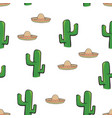 seamless pattern mexican sombrero hat and cactus vector image