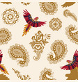 seamless pattern with paisley and birds vector image