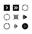 set of black arrows vector image vector image