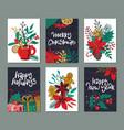 set six christmas and new year greeting vector image