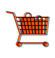 shopping cart with bags icon imag vector image