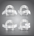 silver horseshoe set vector image vector image