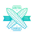 surfing courses emblem badge logo vector image vector image