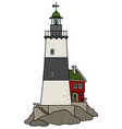 the funny old black and white lighthouse vector image vector image