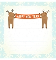 Two cartoon deers holding Happy new year banner vector image