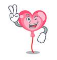 two finger ballon heart character cartoon vector image