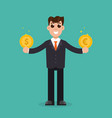 urrency comparison businessman holding a dollar vector image