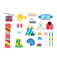 winter sport icons set ski snowboarding vector image vector image