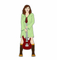 woman holding a guitar vector image vector image