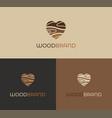wooden heart logo icon vector image