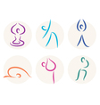 Yoga stick figure icons or symbols vector image vector image