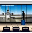 airport the plane through a large window vector image