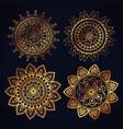 boho style golden mandala set icons vector image