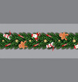 border with santa claus christmas tree branches vector image