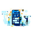 business people team work at smartphone with app vector image vector image