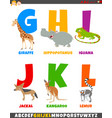 cartoon alphabet set with comic animal characters vector image