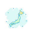 cartoon colored japan map icon in comic style vector image