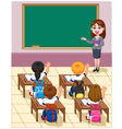 cartoon little kids a study in the classroom vector image vector image