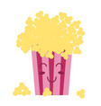 cute cawai pop corn popcorn cinema snack cartoon vector image
