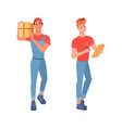delivery couriers delivering goods with waybill vector image vector image