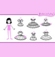dress up paper doll with ballet tutus vector image