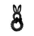 easter bunny wreath silhouette vector image vector image