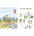 flat fishing template vector image vector image