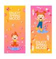 happy children enjoying spring vertical banners vector image
