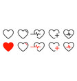 heart icons isolated signs collection of vector image vector image