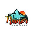 logo design running on mountain vector image vector image