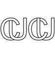 logo sign uc cu icon sign two interlaced letters vector image vector image