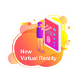 man in virtual glasses touchscreen tablet vector image vector image