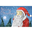 Merry Christmas moon snow Santa Claus vector image vector image