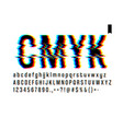 modern style distorted glitch typeface mixing vector image vector image