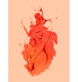 Nude women on the red watercolor background vector image vector image