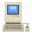 old computer 80s technologies screen and vector image