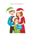 parent giving daughter gift for christmas vector image