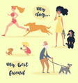 people with pets set of different dog owners vector image vector image