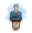 Press and media conference Spokesperson speaking vector image vector image