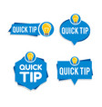 quick tips logo icon or symbol set with different vector image vector image