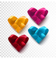 red realistic woven hearts vector image vector image