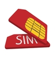 Red sim cards cartoon icon vector image