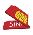 Red sim cards cartoon icon vector image vector image