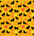 seamless pattern with black dogs silhouettes puppy vector image