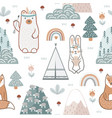 seamless pattern with cute forest animals flowers vector image vector image