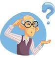 senior man thinking having many questions vector image vector image