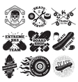 Set of skateboarding labels - skull in helmet vector image vector image