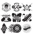 set skateboarding labels - skull in helmet vector image