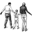 sketch a young family citizens skating on vector image vector image